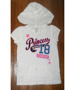 the childrens place white glitter sport hoodie v neck tee shirt small 5 ... - $3.96