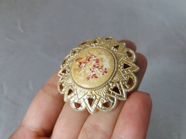 Gold tone plastic brooch Vintage Brooch Old Soviet  Brooch Beige Brooch ... - $20.00