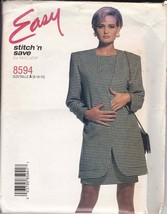 Easy McCalls 8594 Power Blazer and Chemise Dress Size 8-10-12 Uncut 1997 - $6.88