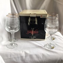 Goldlace Etched Crystal Goblet Set - Bohemia Czechoslovakia - 4 Pcs-11.5... - $20.54