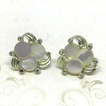 Vintage 50s Mother of Pearl Rhinestone Earrings Prong Set Screw Back - $11.82
