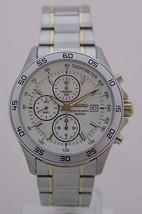 Seiko mens watches casual chronograph lumibright hands 2 tones bracelet ... - $192.06