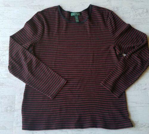 Lauren Ralph Lauren Knit Top Women's Large Long Sleeve Black Red Stripe Shirt