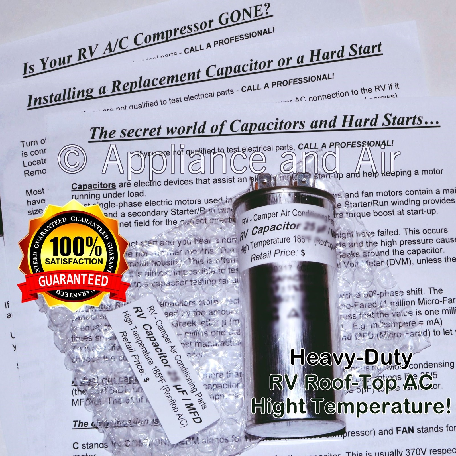 Dometic Duo-Therm 3100248.701 High Temp Run Capacitor 45+10 MFD RV Camper Air