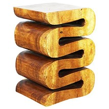 HAUSSMANN Wave Accordion Side Table 12x14x20 inch H Acacia Wood in Livos... - $154.75