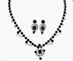 Vtg black & clear ice rhinestone choker necklace screw back earrings jew... - $16.61