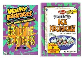 2017 Wacky Packages 50th Anniversary Best of the 80's Stickers -ICE KRUNKLES- #1 - $1.25