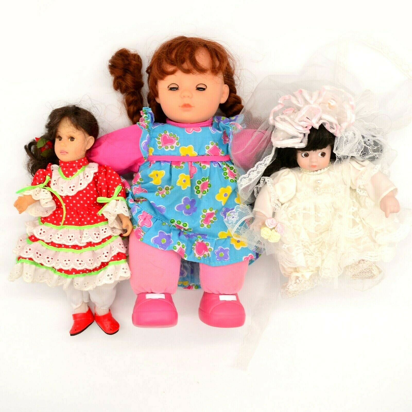 Primary image for Lot of 3 Various Dolls Bride Doll Square Dancing Doll Little Girl Laughing Doll