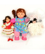 Lot of 3 Various Dolls Bride Doll Square Dancing Doll Little Girl Laughi... - $45.53