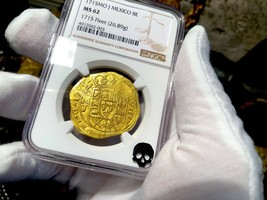 MEXICO 1715 NGC 62 FLEET SHIPWRECK 8 ESCUDOS PIRATE GOLD COINS TREASURE ... - $39,500.00