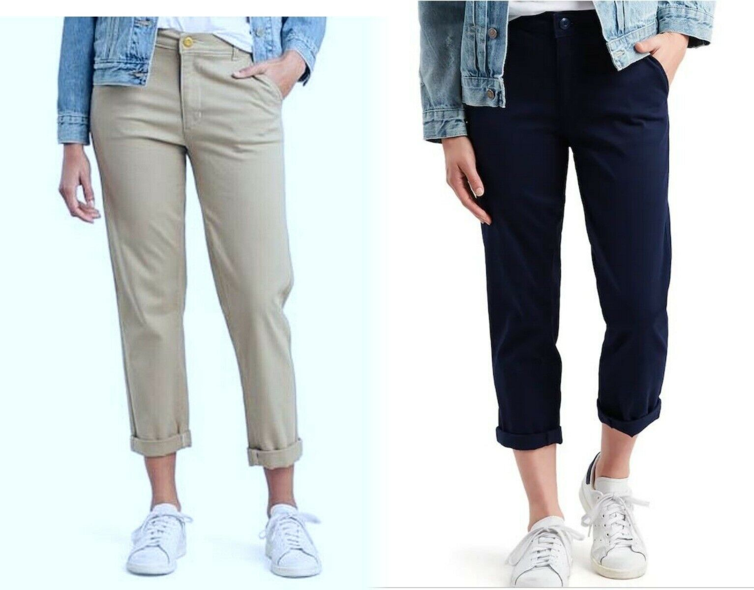 Primary image for $60 Levi Classic Chinos Navy Blue or Khaki Beige Cuffed Hem Crop Pants New