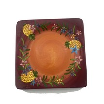 Laurie Gates Ware Lga125 Red Pineapple Fruit Flower 11 Inch Square Dinne... - $19.79