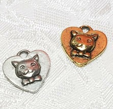 CAT FACE ON HEART FINE PEWTER PENDANT CHARM - 14mm L x 15mm W x 3mm D