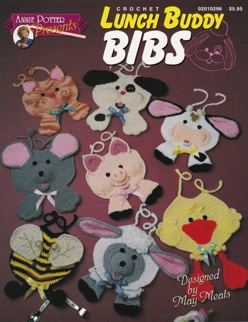 Primary image for Lunch Buddy Bibs Crochet Piglet Cow Lamb Bee Kitten Mouse Puppy Duck Kid Fun OOP