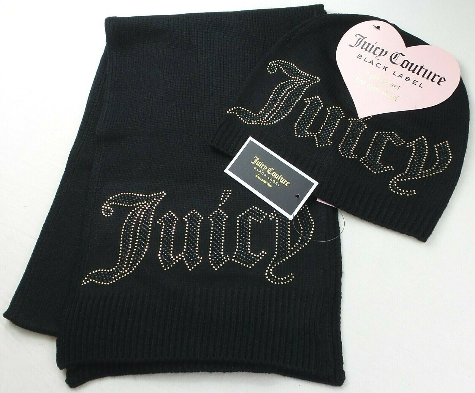 Primary image for Juicy Couture Black Label Women's Beanie Hat & Scarf 2 Piece Set Black Stud Logo