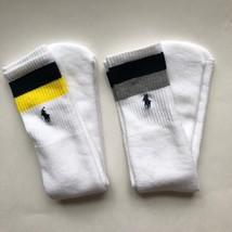 Polo Ralph Lauren Mens 2 Pair of Tube Crew Super Soft Socks White GY One... - $10.75