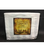 NEW King Size White 1000 Count Egyptian Comfort Damask Stripe Sheet Set - $55.00