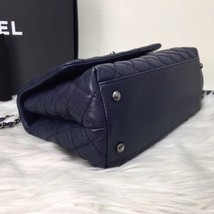 100% AUTH CHANEL RARE MEDIUM COCO HANDLE BAG DARK NAVY BLUE CAVIAR RHW image 7
