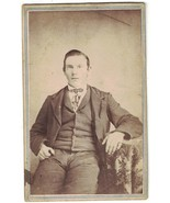 CDV Photo of Man Sitting Next to table - Named. - $8.60