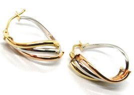 Earrings Circle Gold 750 18K, White Yellow Rose, Ovals, Wave, Wavy, 2.2 CM image 4