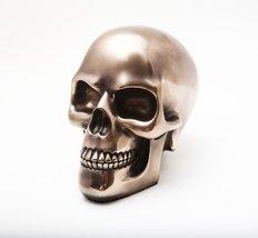 5.38 Inch Polished Bronze Finish Skeleton Skull Statue Figurine - $30.29