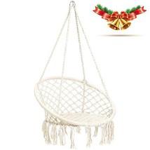 CCTRO Hammock Chair Macrame Swing,Boho Style Rattan Chair Hanging Macram... - $63.98