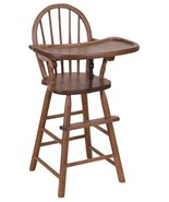 BOW BACK HIGH CHAIR - Solid Oak Child Booster Seat & Tray - Amish Handma... - $300.97