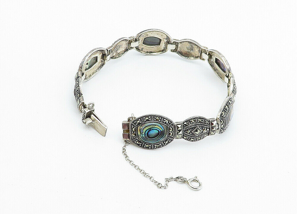 925 Sterling Silver - Vintage Abalone Shell & Marcasite Chain Bracelet - B6062 image 2