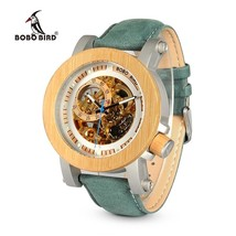 BOBO BIRD WK13 Bamboo Mechanica Watch Vintage Bronze Skeleton Clock Male... - $141.99
