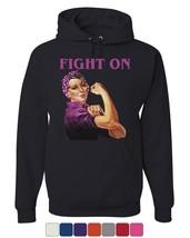 Fight On Hoodie Pink Ribbon Rosie the Riveter Cancer Awareness Sweatshirt - $21.94+