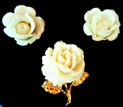 Vintage white rose brooch pin clip on earrings acrylic flower jewelry pa... - $14.99