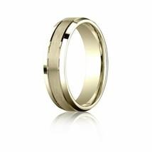 Fine 10k Yellow Gold 6 mm Comfort-Fit Beveled Edge Carved Design Wedding... - $256.41+