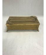 Filigree tissue holder Kleenex ornate brass metal feet 2 pc goldtone MCM - $38.60