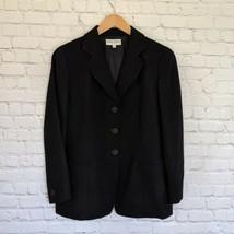 Giorgio Armani | Women's Black Button Up Wool Blazer Size 12 Relaxed Ove... - $74.25