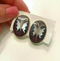 Vintage Alpaca Mexico Oval Abalone Butterfly Clip On Earrings - $14.84