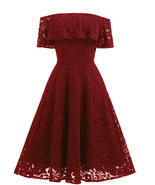 Strapless Burgundy Lace Short Cocktail Dress Vintage 50s Graduation Gown... - $45.00