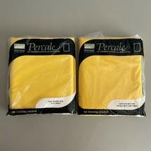 Vintage Yellow No Iron Percale Full Size Sheet Set Montgomery Ward 50/50... - $49.50