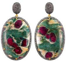 2.4Ct Diamond Pave Vintage Inspire Sterling Silver Ruby Dangle Earrings 14K Gold - $1,135.23