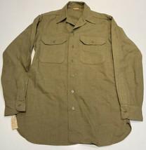 Original 1942 WWII US Army OD Flannel & Gas Flap Regulation Shirt Size 14 1/2-34 - $42.97