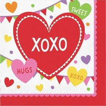 Valentine Party Candy Hearts 16 Ct Lunch Napkins XOXO Hugs Kisses - $3.29