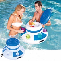 Inflatable Floating Party Table Ice Bucket Beer Drink Pool Desk Summer S... - $37.16