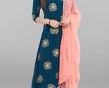 Janasya Indian Women's Turquoise Blue Poly Crepe Kurta With Pant And Dupatta - £23.53 GBP