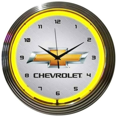 "Primary image for GM Chevrolet Yellow Neon Clock 15""x15"""