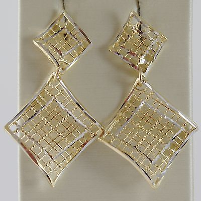 18K YELLOW & WHITE GOLD PENDANT EARRINGS FINELY WORKED DOUBLE WAVE MADE IN ITALY