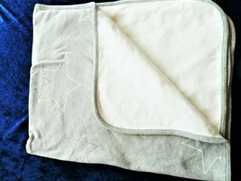 Vintage Baby Gap 2004 Cotton Baby Blanket Gray White Cream Mint Green Star - $49.49