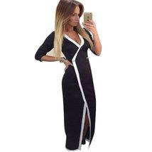 Quarter Sleeve High Slit Patchwork Women Long Maxi Dress - $33.98