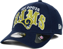 New Era St. Louis Rams Curve Classic 39Thirty Stretch Flex Fit Cap Hat Navy Blue - £19.27 GBP