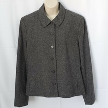 Evan Picone Womens Wool Blend Blazer Size 14 Dark Gray Career Button Up - $19.80