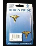 Gold Collar Pin Tac Set 2 Piece Caduceus Wings Military Medical Officer New - $14.67