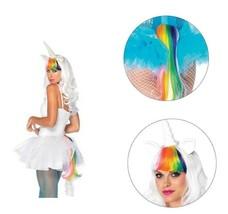 2pc Unicorn White Wig and Rainbow Unicorn Tail Kit Pride LGBTI Parade Fe... - $23.36